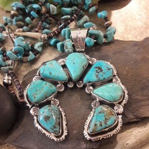 Navajo Signed Sterling Turquoise Naja Pendant